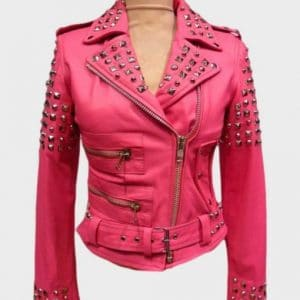 Womens Golden Studded Pink Leather Motorcycle Jacket