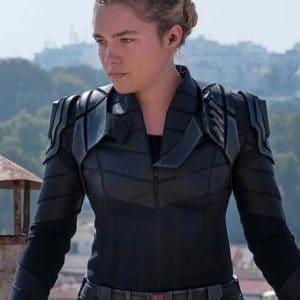 Florence Pugh Black Widow 2021 Yelena Belova Black Leather Jacket