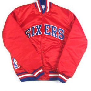 Philadelphia Sixers 76ers NBA Starter Red Satin Bomber Jacket