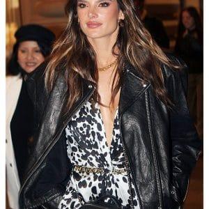Black Moto Alessandra Ambrosio Biker Leather Jacket