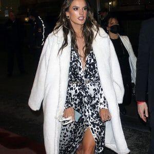 Alessandra Ambrosio White Shearling Trench Fur Coat
