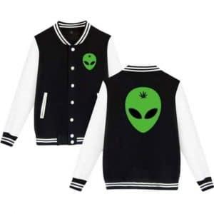 Head Leaf Weed Alien Black and White Varsity Jacket