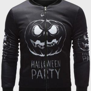 Black Cotton Halloween Party Bomber Jacket