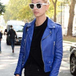 hailey-baldwin-blue-leather-jacket