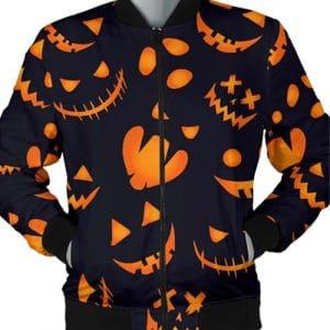 Halloween Pattern Pumpkins Bomber Jacket