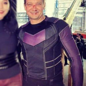 Jeremy Renner Hawkeye 2021 Purple Leather Jacket
